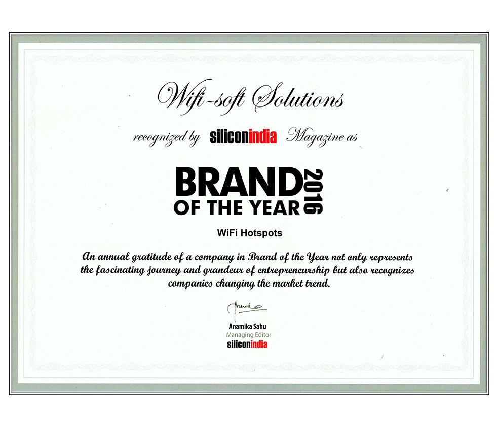 Silicon India award Wifisoft Brand of the year, 2016.